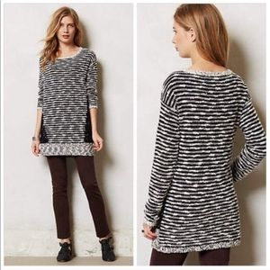 Anthro MOTH • Staccato Stripes & Lace Sweater Med